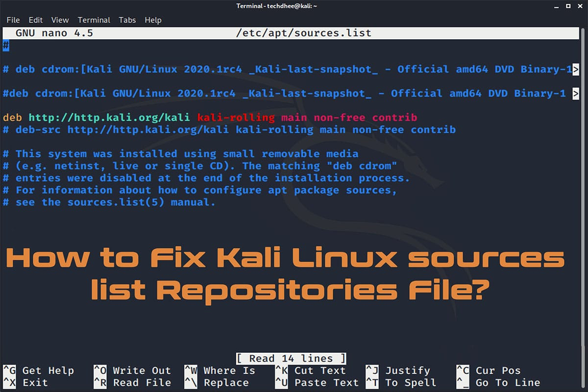 How to Fix Kali Linux sources list Repositories File?