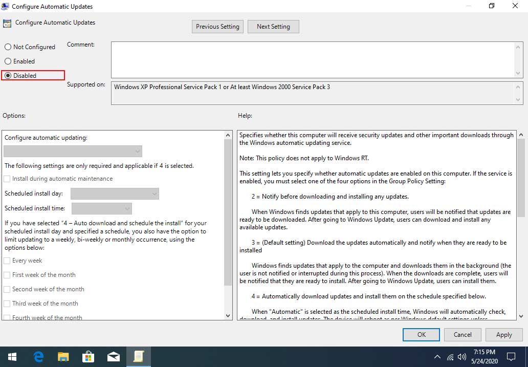Disabled Automatic Updates in Windows 10