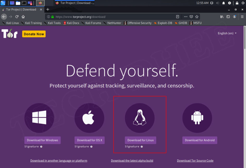 how to install tor browser in kali linux